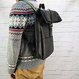 Рюкзак roll чёрный из натуральной кожи crazy horse, фото 6