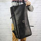 Рюкзак roll чёрный из натуральной кожи crazy horse, фото 9