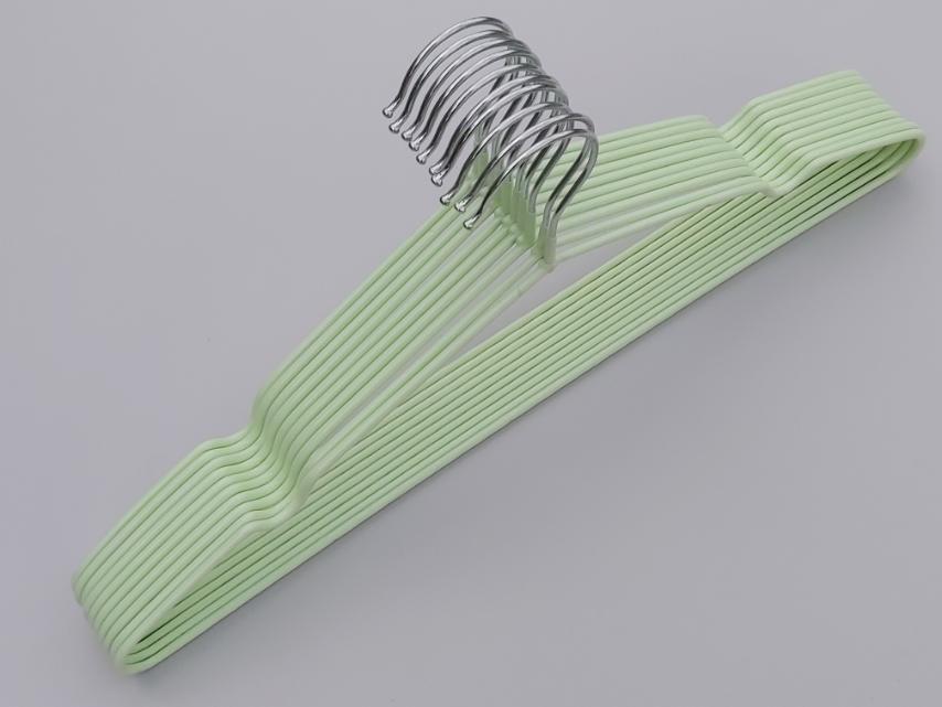 Плечики металлические в силиконовом покрытии нежно-салатового цвета, 40,5 см, 10 штук в упаковке