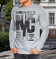"""0063 NY Мужская футболка-лонгслив """"NYC"""" (Испания) темно-серая"""