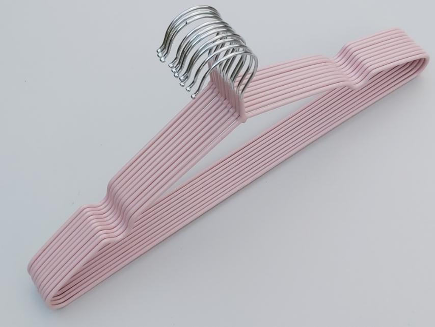 Плечики металлические в силиконовом покрытии нежно-розового цвета, 40,5 см, 10 штук в упаковке