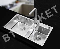 Кухонная мойка Imperial Handmade S7843BL 2.7/1.0 мм (IMPS7843BRPVDH10)