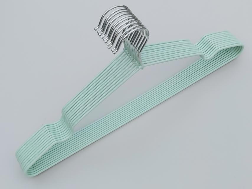 Плечики металлические в силиконовом покрытии нежно-бирюзового цвета, 40,5 см, 10 штук в упаковке