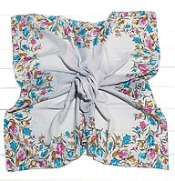Легкий платок Тюльпаны, батист, 95*95 см, светло-серый
