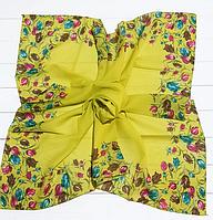 Легкий платок Тюльпаны, батист, 95*95 см, горчичный