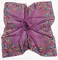Легкий платок Тюльпаны, батист, 95*95 см, сиреневый