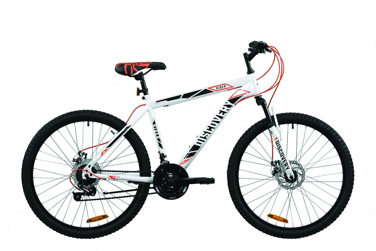 """Велосипед горный 26"""" Discovery Rider AM DD 2020 бело-красный с серым, 13"""""""