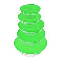 Стеклянные пищевые контейнеры с крышками, 5 шт., цвет зеленый