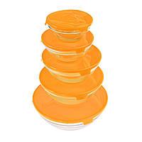 Стеклянные пищевые контейнеры с крышками, 5 шт., цвет оранжевый