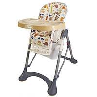Стульчик детский качественный для кормления с колесиками и подносом для детей от 6 мес до 3 лет  (кремовый)