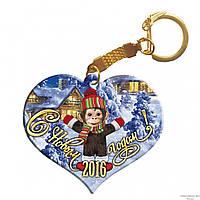 """Деревянный брелок - сердце """"Обезьяна с домиком: С Новым Годом!"""""""
