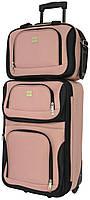 Качественный дорожный набор чемодан на колесиках и сумка в подарок для путешествий средний розовый