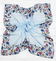 Легкий хустку Тюльпани, батист, 95*95 см, світло-блакитний