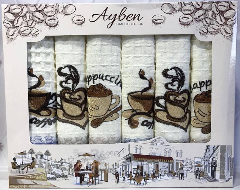 Набор 6 кухонных полотенец Ayben M4813 45х70, вафельные