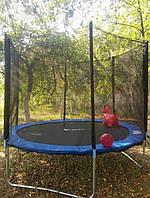 Высококачественный батут спортивный игровой Atleto 252 см с сеткой для детей и взрослых синий