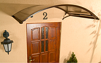 Навес Козырек из Поликарбоната для входных дверей (1200*1600) Коричневый