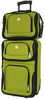 Комплект качественный дорожный чемодан на колесиках и сумка в подарок для путешествий маленький зеленый