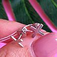 Серьги пуссеты крестики серебряные - Серьги-гвоздики кресты серебро - Серьги минимализм, фото 5
