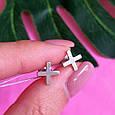 Серьги пуссеты крестики серебряные - Серьги-гвоздики кресты серебро - Серьги минимализм, фото 4
