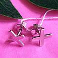 Серьги пуссеты крестики серебряные - Серьги-гвоздики кресты серебро - Серьги минимализм, фото 3