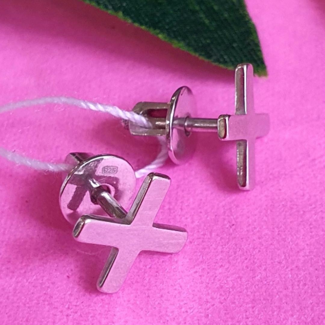 Серьги пуссеты крестики серебряные - Серьги-гвоздики кресты серебро - Серьги минимализм