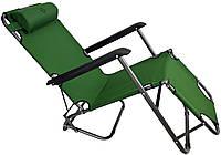 Шезлонг лежак стальной прочный садовое кресло на 153 см с нагрузкой до 100 кг Темно-зеленый