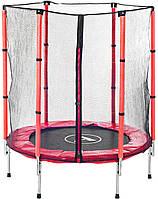 Высококачественный батут спортивный игровой 140 см с сеткой для детей до 45 кг красный