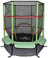 Высококачественный батут спортивный игровой 140 см с сеткой для детей до 45 кг зеленый New