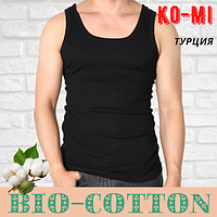 Мужская майка Ko-Mi BioCotton Турция  в рубчик черная размер 10-2ХL,20011529