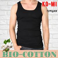 Мужская майка Ko-Mi BioCotton Турция  в рубчик черная размер 8-L,20011543