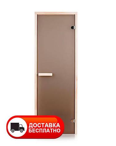 Двери для бани 70х190 см Greus Classik (матовая бронза) 2 петли, фото 2