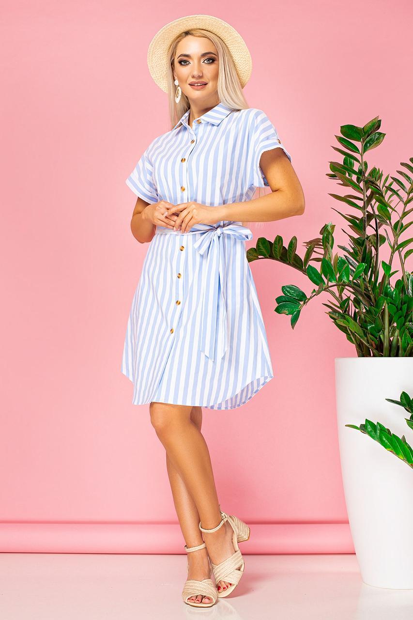 Платье-рубашка в крупную голубую полоску с поясом
