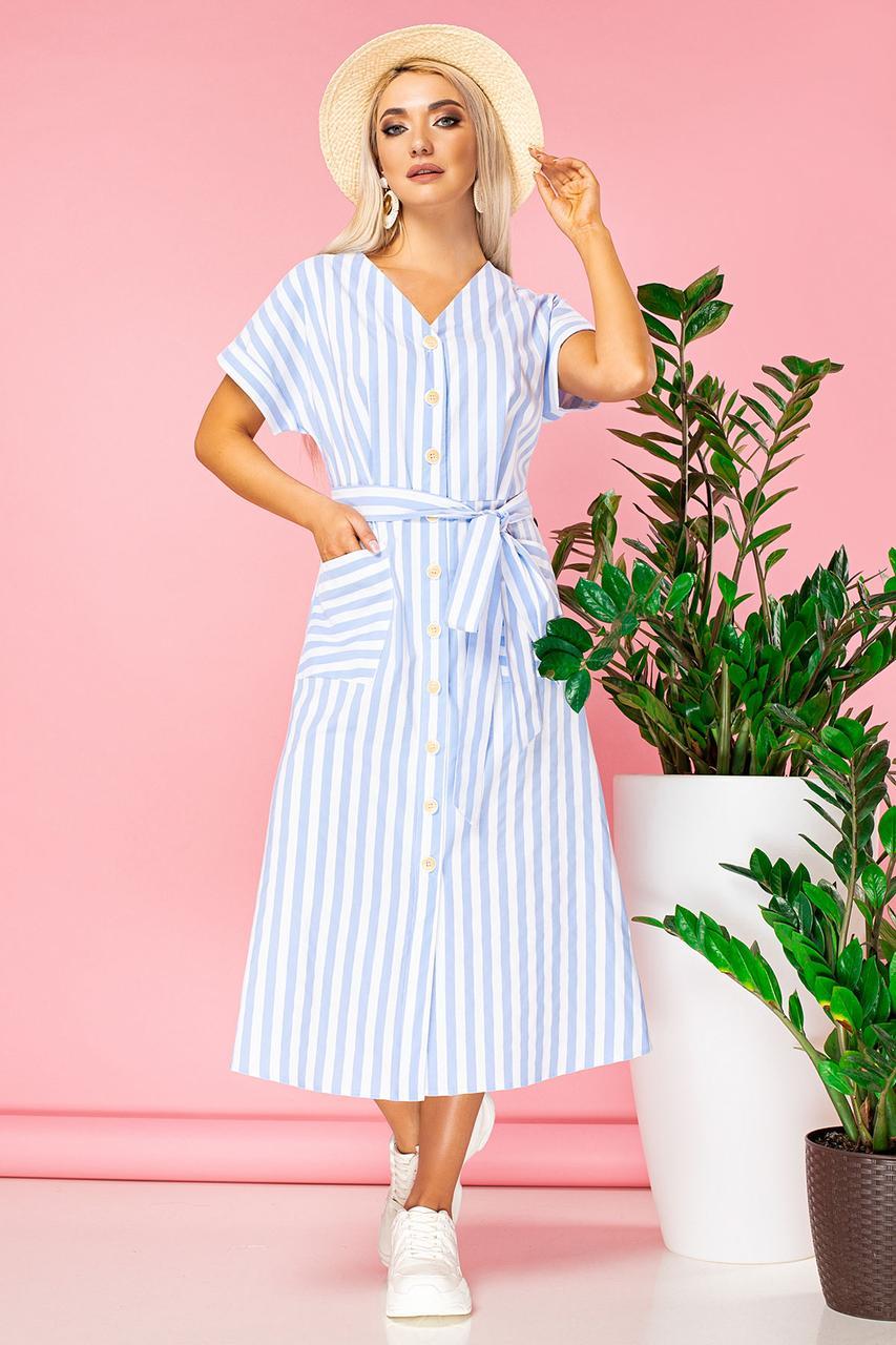 Голубое платье в полоску с V-образным вырезом