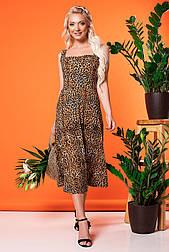 Леопардовый трикотажный сарафан