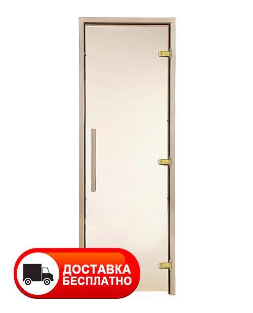 Двери для сауны GREUS PREMIUM 80х200 см (bronze) 3 петли