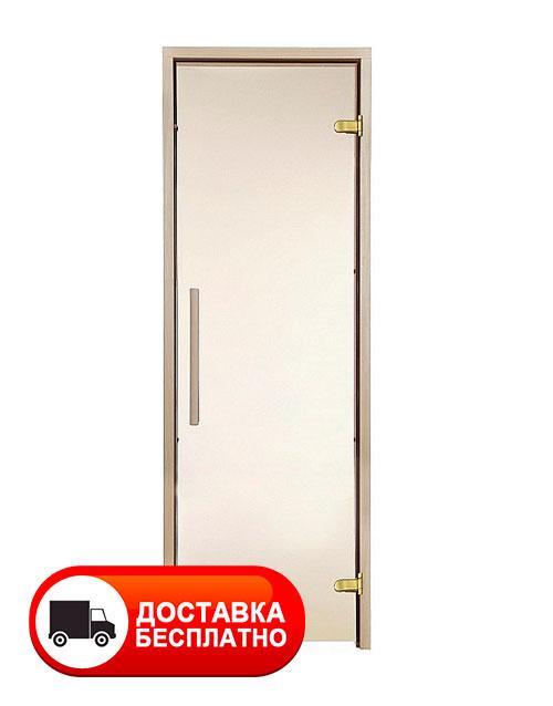 Двери для сауны GREUS PREMIUM 70х190 см (матовая бронза) 2 петли