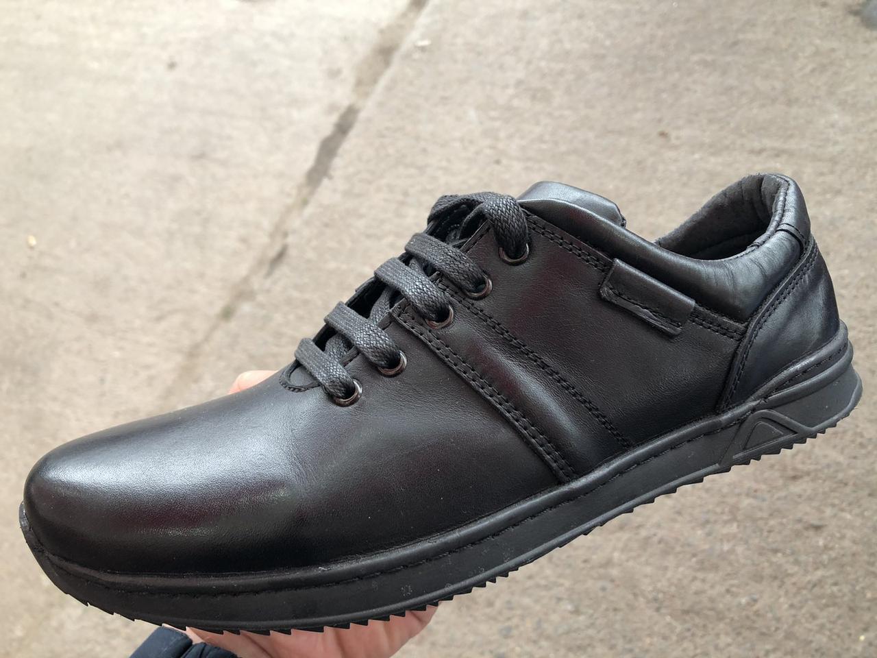 Туфли мужские из натуральной кожи черного цвета шнуровке АН кросс