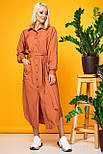 Теракотове сукня-сорочка з жатой тканини, фото 2