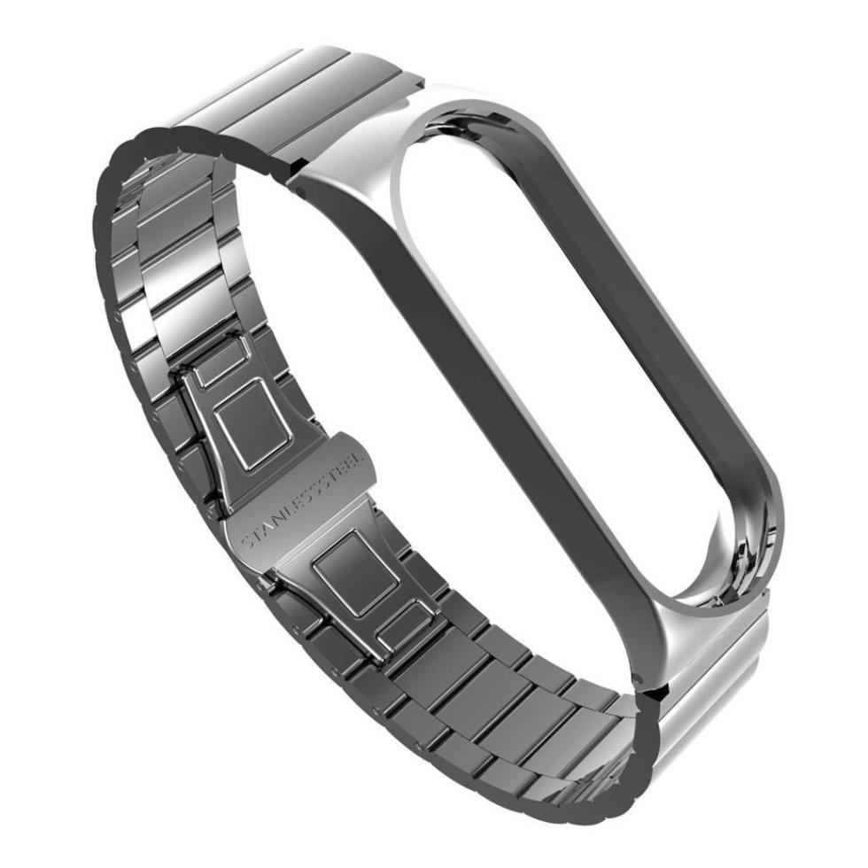 Ремешок серый  Stainless Steel for Xiaomi Mi Band 3 color Silver
