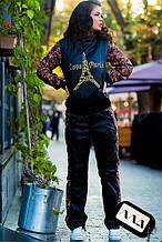 Женский спортивный костюм на флисе с цветами норма и батал