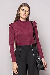 Бордова блузка-боді з рюшами