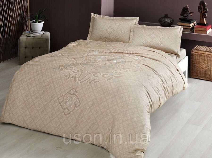 Комплект постельного белья сатин Tac размер евро  BRUNA KAHVE