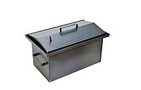 Коптильня с гидрозатвором крышка домиком 2 уровня (450*240*210)-2 мм для горячего копчения
