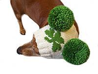 Зимняя шапка для собаки с двумя помпонами