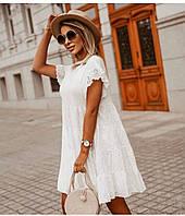 Стильное свободное белое летнее мини платье Ткань турецкая прошва размеры 42-46,48-52,54-58