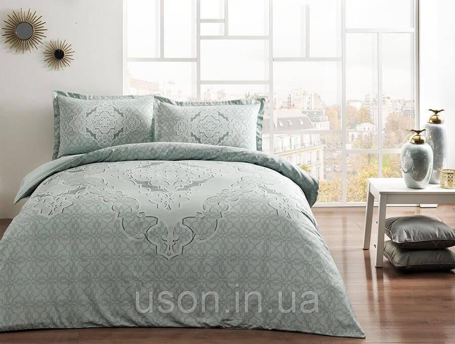 Комплект постельного белья сатин Tac размер евро  OLIVIA MINT