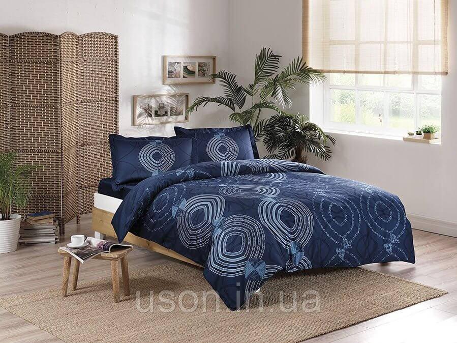 Комплект постельного белья сатин Tac размер евро  PALOMA LACIVERT