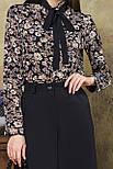 Блузка с черным галстуком цветы на черном, фото 4