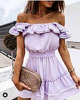 Красивое модное летнее мини платье с воланами, талия на резинке Размеры- 42-44,46-48,50-52