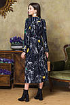 Платье с V-образным вырезом цветы на черном, фото 3
